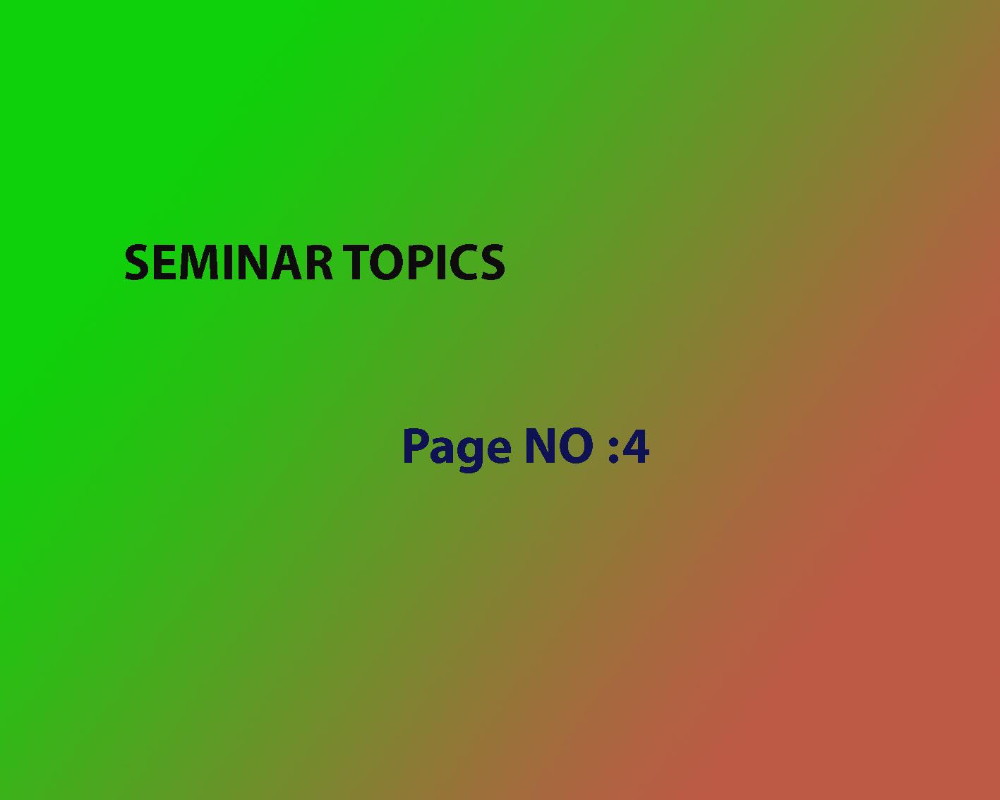 890 Seminar Topics for Civil Engineering-Page NO:4