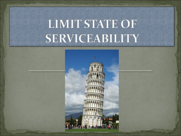 Limit State Of Serviceability-Design of Reinforced Concrete